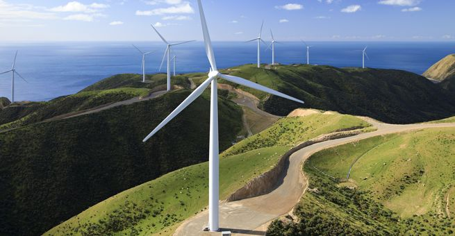 Luftaufnahme Windkraftanlagen in Neuseeland West Wind Project