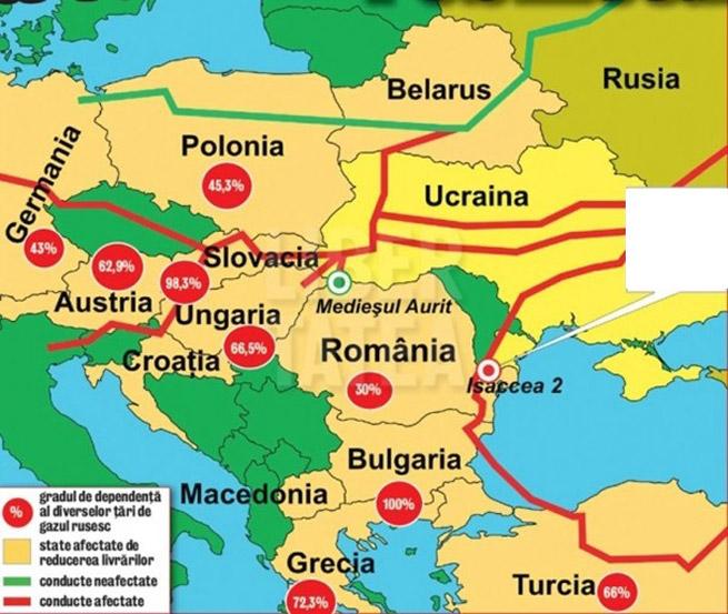 Dependenta de gazul rusesc al tarilor din Europa de Est (Sursa www.zf.ro )